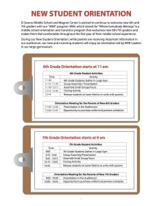 Orientation day schedule
